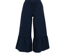 Cropped Ruffled Cotton-oxford Wide-leg Pants
