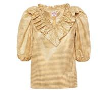 Bluse aus Seersucker in Metallic-optik mit Rüschen