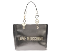 Embellished Metallic Faux Textured-leather Tote
