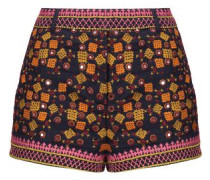 Sharlen sequin-embellished embroidered cotton-gauze shorts