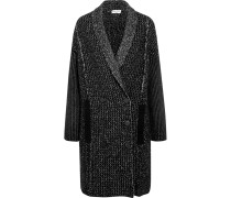 Double-breasted Stretch Wool-blend Coat Schwarz