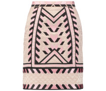 Anfisa Embroidered Quilted Silk Mini Skirt Pastellrosa