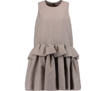 Ruffled Hem Textured Crepe Mini Dress Champignon