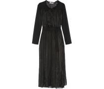 Metallic Striped Chiffon And Silk-blend Dress Schwarz