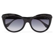 D-frame Embossed Acetate Sunglasses Schwarz