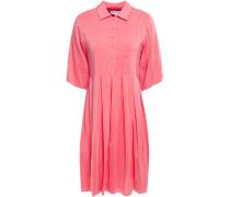 Pleated Silk-blend Mini Shirt Dress