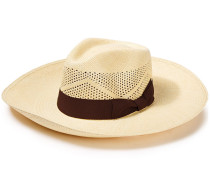 Woman Canvas-trimmed Toquilla Straw Panama Hat Chocolate