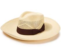 Canvas-trimmed Toquilla Straw Panama Hat