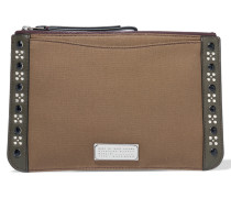 The Roxy 28 Embellished Cotton Clutch Armeegrün
