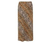 Kelly Midirock aus Crêpe De Chine aus Seide mit Leopardenprint