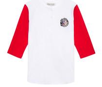 Appliquéd Two-tone Cotton-jersey Top