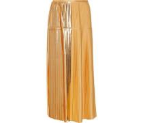 Antonella pleated lamé-paneled crepe midi skirt