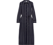 Rope Striped Voile Midi Dress Navy