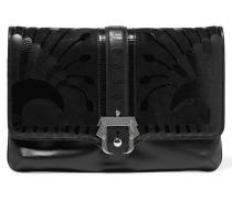 Sylvie Suede And Croc-effect Trimmed Leather Clutch Schwarz