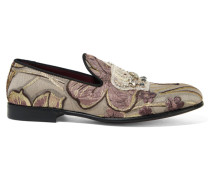 Embellished Jacquard Slippers Gold