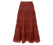 Fleet Broderie Anglaise-trimmed Cotton-poplin Midi Skirt