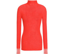 Neon Ribbed Wool Turtleneck Top Red