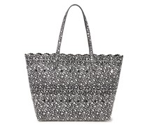 Laser-cut Studded Floral-print Leather Tote