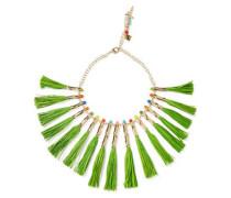 Aloha gold-tone, raffia and quartz necklace