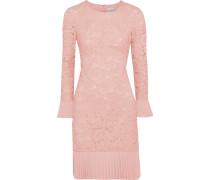 Plissé-trimmed Corded Lace Dress