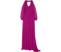Cutout Pleated Chiffon Gown Violett