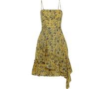 Ruffled Floral-print Cotton-jacquard Dress