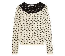 Swiss Dot Tulle-paneled Intarsia-knit Sweater Creme