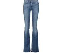 Mid-rise faded flared jeans