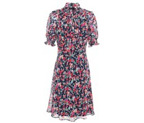 Pussy-bow Floral-print Georgette Dress