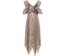 Asymmetric Pleated Striped Satin Midi Dress