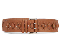 Cutout Leather Belt Braun