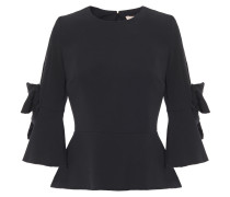 Woman Bow-embellished Stretch-crepe Peplum Top Black