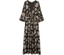 Stone Wrap-effect Metallic Fil Coupé Chiffon Maxi Dress