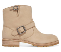 Buckled Nubuck Ankle Boots Beige
