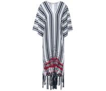 Awning Fringe-trimmed Embroidered Striped Linen-gauze Kaftan