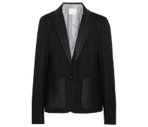 Leather-trimmed Wool-twill Blazer Schwarz