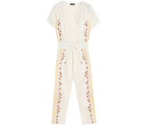 Cropped embroidered cotton-gauze jumpsuit