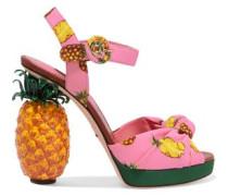 Knotted printed crepe platform sandals