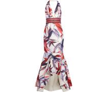 Embellished Printed Jacquard Halterneck Gown Elfenbein