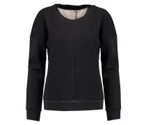 Montana Satin Scuba-paneled Jersey-knit Top Schwarz