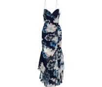 Split-front Ruched Floral-print Silk-chiffon Gown