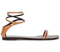 Sandalen aus Leder mit Eidechseneffekt