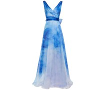 Bow-embellished Printed Organza Gown