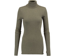 Cotton And Cashmere-blend Turtleneck Sweater Armeegrün