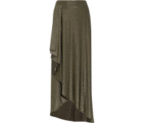 Asymmetric Stretch-jersey Maxi Skirt Gold