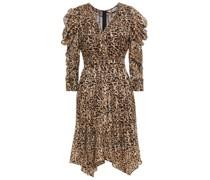 Asymmetrisches Kleid aus Chiffon mit Leopardenprint und Raffung