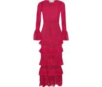 Tiered Pointelle-knit Midi Dress