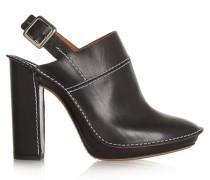 Leather Slingback Mules Schwarz