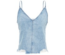 Top aus Denim in Distressed-optik