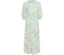 Gerafftes Midi-wickelkleid aus Baumwoll-jacquard mit Floralem Print